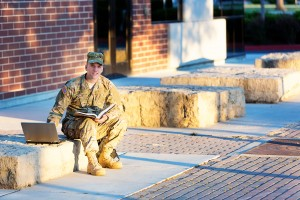 soldier with laptop